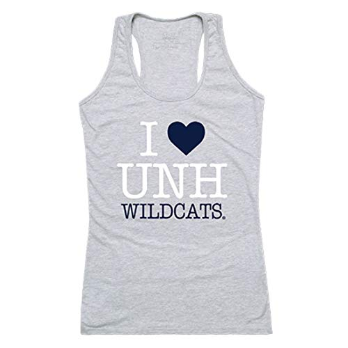 - UNH University of New Hampshire Wildcats Womens Love Tank Top Tee T-Shirt Heather Grey Large