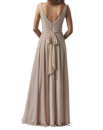 Partykleider Linie A Ausschnitt Brau Ballkleider Lang mia Elegant Chiffon Abendkleider V Sommer Gelb La Brautjungfernkleider SzxqRPWp7P