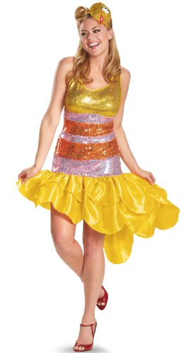 Disguise Sesame Street Big Bird Glam Deluxe Womens Adult Costume, Yellow/Orange, Small/4-6 (Sesame Street Halloween Costumes)