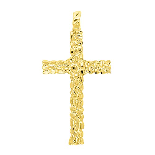 (The Bling Factory Large 33.5mm x 5.7cm 14k Gold Plated Nugget Textured Cross Pendant)