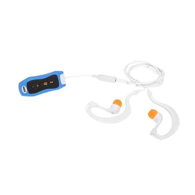 Andoer 4GB Mp3 Impermeable IPX8 Reproductor de Mp3 para Nadar y Buceo con FM y Radio Mp3 de deportes de sonido estéreo con auricular (Azul con ...