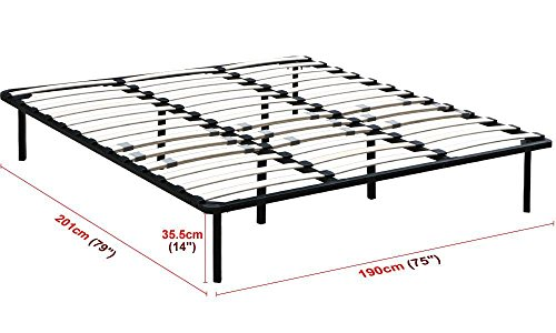 Yaheetech King Size Platform Metal Bed Frame Mattress Foundation Base with Wood Slats No Headboards