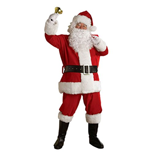 [Christmas Santa Claus Costume Deluxe Ultra Velvet Santa Suit with Wig and Beard (M)] (Plus Size Simply Santa Costumes)