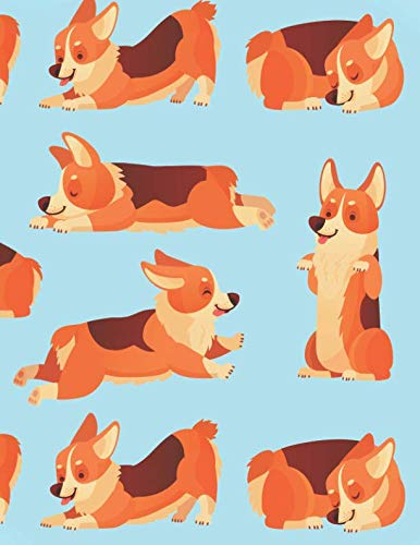 Corgi Notebook: Cute Blue Corgi Lined Notebook for Dog Lovers Wide Ruled Journal Notepad Diary with Corgis Playing and Sleeping - Christmas Present, ... Boys Teens Kids Women  (120 -