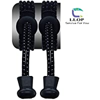 LLOP Elastic No Tie Shoelaces Pinch Tie Locking Shoe laces New Improved Elastic and Reflective Laces Replacement Elastic Running Shoelaces for Mens, Womens, Seniors & Kids Shoes, Cleats, Boots