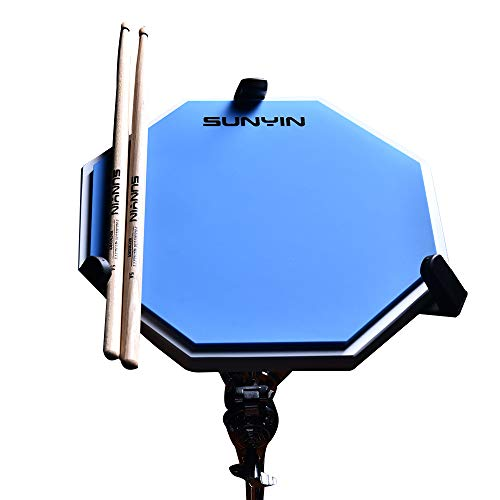 (SUNYIN Practice Drum Pad Set&Drum Sticks,12 inches-Silent Practice Training Pad with Real Drum Feel (Blue))