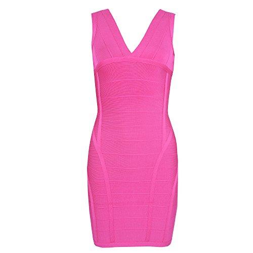 HLBandage Women's Rayon Deep V Neck Layering Bodycon Bandage Dress Rosa Brillante