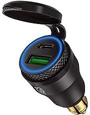 USB-cigarettändare adapter för BMW motorcykel DIN/Hella EU-kontakt – Dual laddare adapter uttag USB C PD 3.0 & QC 3.0 snabbladdningsuttag för motorcykel båt lastbil husvagn ATV