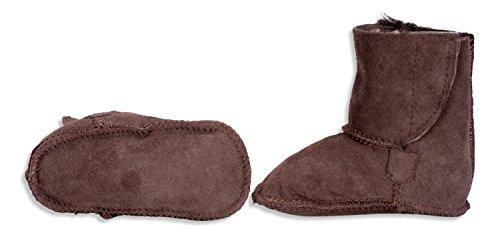 Nordvek Baby Stiefel im UGG-Stil mit Klettverschluss und 100 % echtem Fell - 0-18 Monate # 408-100 Schokoladenbraun