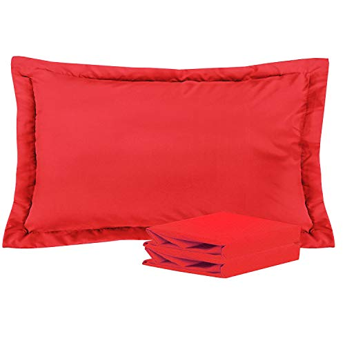 NTBAY King Pillow Shams, Set of 2, 100% Brushed Microfiber, Soft and Cozy, Wrinkle, Fade, Stain Resistant (Red, ()