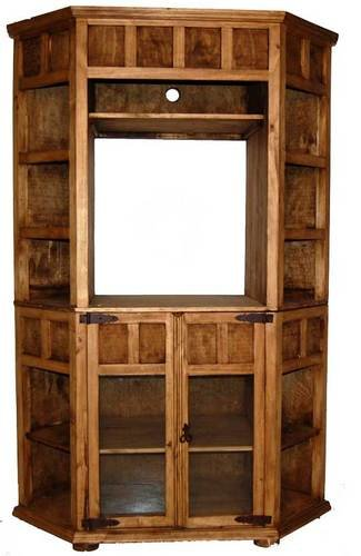 Corner TV Bookcase Real Wood Western Rustic Custom Stain Fla