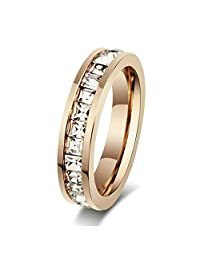 Aooaz Womens Stainless Steel Ring, Channel Set Eternity Ring Square All ARound Round Ring Rose Gold Ring