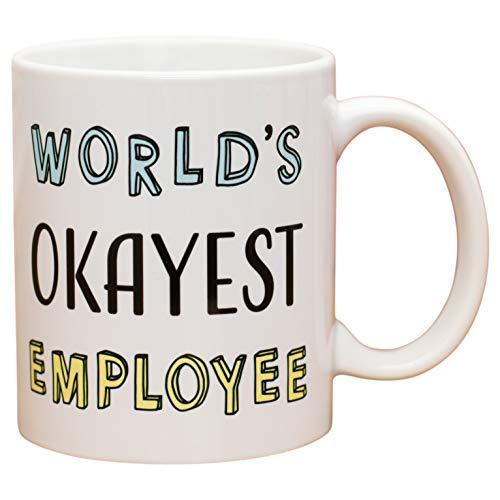 World's Okayest Employee Block On White 11 Oz Ceramic Stoneware Coffee Mug