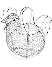 Naisde Ei opbergmand van metaaldraad, kippenontwerp, eimand, decoratieve keukenopbergmanden, eenvoudige en nette chroomstaaldraadmand met handvat, geschikt voor 15-20 eieren
