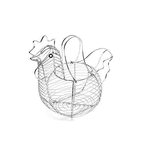 Romote Chicken Shaped Egg Holder Metal Wire Fruit Basket Table Top Snacks Organizer Kitchen Gadget