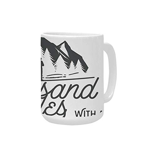 Adventure Ceramic Mug,Long Journeys Starts with a Single Step Quote Inspirational Motivational Image Decorative for Home,15OZ