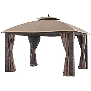 Sunjoy 12u0027 X 10u0027 Sonoma Wicker Gazebo, Large, Brown/Gold Trim