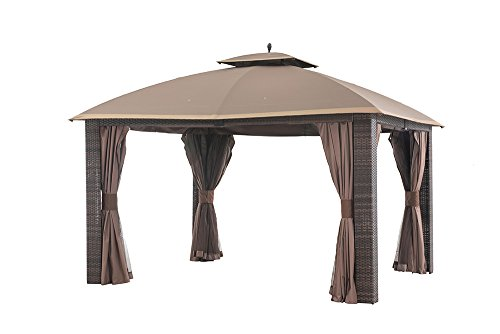 Gazebo Tiered Roof - Sunjoy 12' x 10' Sonoma Wicker Gazebo, Large, Brown/Gold Trim
