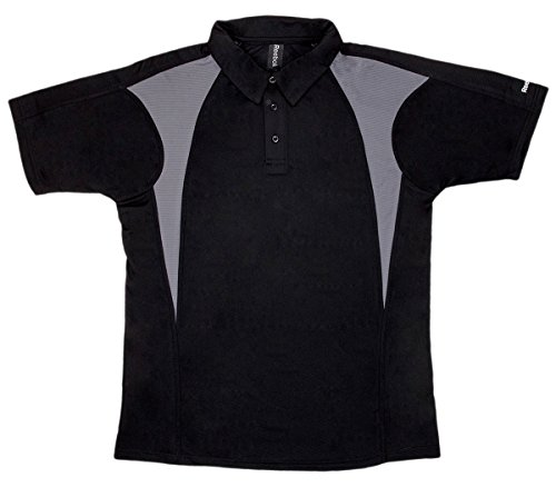 Reebok Men's Self Fabric Collar 3 Button Polo Shirt, Black/ Graphite, 4X