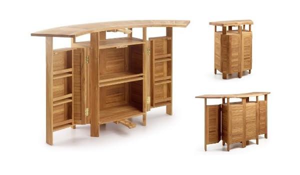 Moycor - Mueble bar jardin teka 2 alas plegable con madera, tamaño 98-180 x 70 x 106: Amazon.es: Jardín
