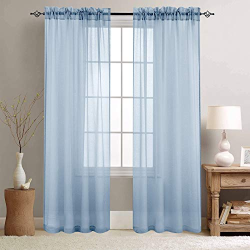 Sheer Curtains Blue 84 inch Length Window Curtain Set for Living Room Drapes Textured Voile Rod Pocket Sheer Window Panels for Bedroom 2 Panels (Blue Sheers)