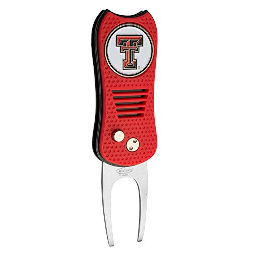 Texas Tech Single - Team Golf NCAA Texas Tech Red Raiders Switchblade Divot Tool with Double-Sided Magnetic Ball Marker, Features Patented Single Prong Design, Causes Less Damage to Greens, Switchblade Mechanism