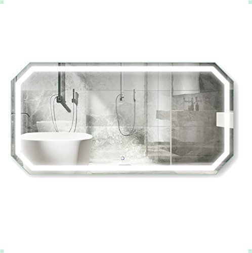 Krugg Octagon LED Bathroom Mirror 60 Inch X 30 Inch | Lighted -