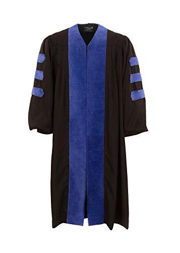[해외]미국 박사의 가운 (블랙 왕실 벨벳과 배관 없음)/American Doctoral Gown (Black with royal blue velvet and no piping)