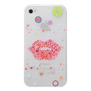 LCJ Red Lip Pattern PC Brushed Hard Case for iPhone4/4s