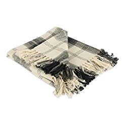 Bedroom DII Farmhouse Woven Throw, 50×60 with 3″ Fringe, Black farmhouse blankets and throws