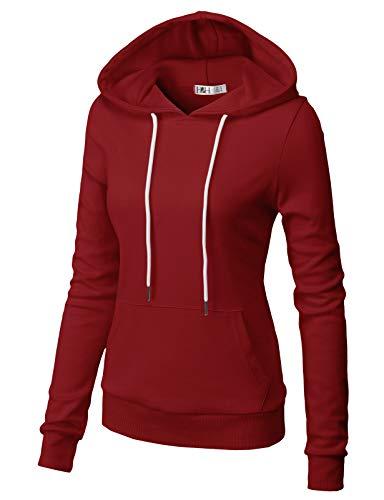 H2H Women Long Sleeve Lightweight Casual Pullover Hoodie Sweatshirts with Kangaroo Pocket Burgundy US L/Asia L (CWOHOL032)