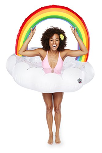 BigMouth Inc Rainbow Cloud Pool Float with Glitter Inside, Funny Inflatable Vinyl Summer Pool or Beach Toy, Patch Kit Included - Excursion Beach Cooler