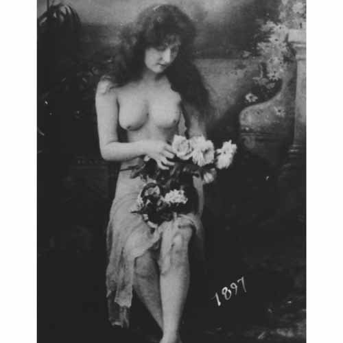 Quality digital print of a vintage photograph - Topless Woman Holding Flowers Black & White 8x10 inches - Matte Finish