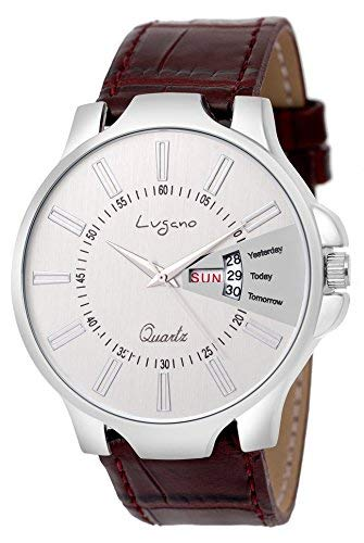 333135d5f Buy Lugano LG 1136 Casual Day & Date Slim Leather Watch Watch - for ...