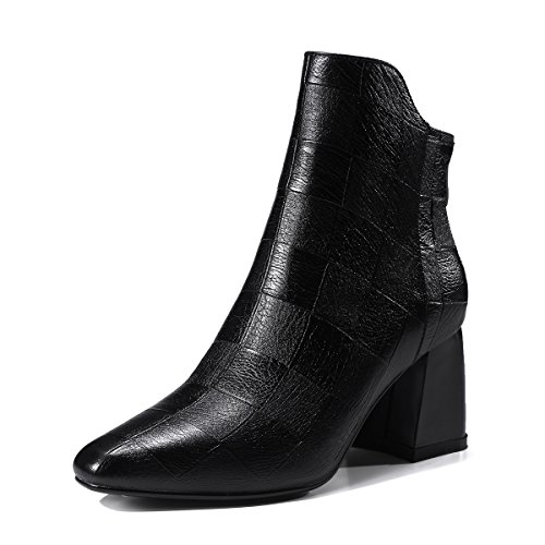 QIN&X La mujer Tacones Talón de bloque corto de cabeza redonda tobillo botas zapatos Black