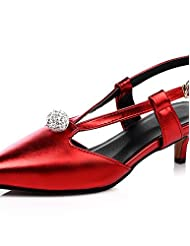 Women's Shoes Low Heel Pointed Toe / Open Toe Heels Party & Evening / Dress / Casual Green / Pink / Red / Silver / Gold