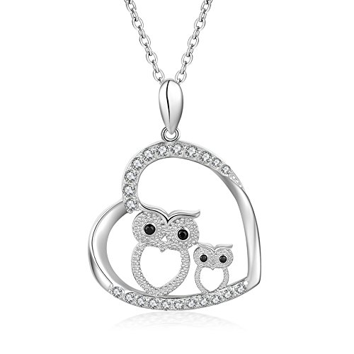 YAXING 925 Sterling Silver Crystal Owl Lover Bird Pendant Necklace 18