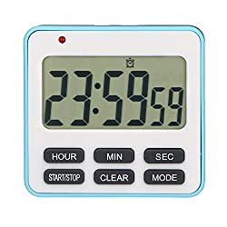 Zealforth Digital Kitchen Countdown Timer - 24 Hours Large Display Count Up Down Timer Clock With Alarm Magnetic for Cooking Kids (blue)