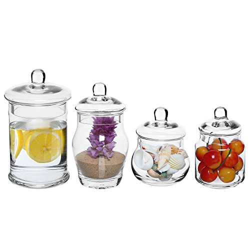 MyGift Set of 4 Small Decorative Clear Glass Apothecary Jars, Wedding Centerpiece Storage Canisters with Lids (Small Glass Cookie Jars With Lids)