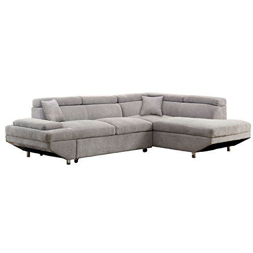 IDF-6124GY-SEC Walter's Sectional with Pull Out Sleeper Chaise ()
