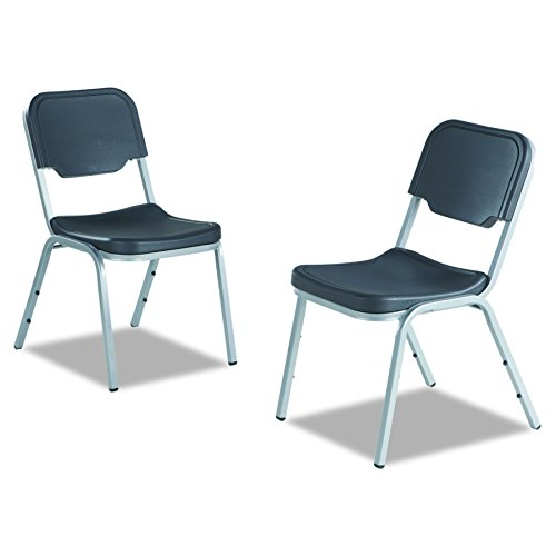 Iceberg 64111 Rough N Ready Series Original Stackable Chair, Black/Silver (Case of 4)