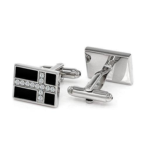 Enamel Cross Cufflinks - Kemstone Crystal Accented Black Enamel Cross Cufflinks Jewelry