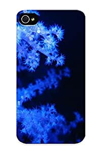New Fashion Premium Tpu Case Cover For Iphone 4/4s - Blue Coral Case For New Year's Day's Gift
