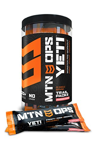 - MTN OPS Yeti Monster Pre-Workout Supplement, Nitric Oxide Booster (No Crash), Strawberry Banana Flavor, 30 Servings per Container