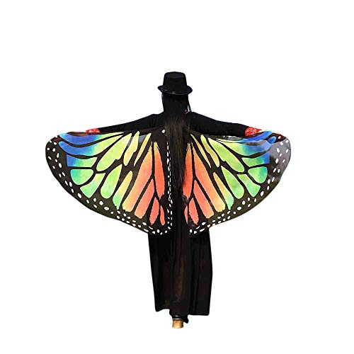 VEFSU Party Soft Fabric for Butterfly Wings Shawl Fairy Ladies Nymph Pixie Costume Accessory (Orange) -