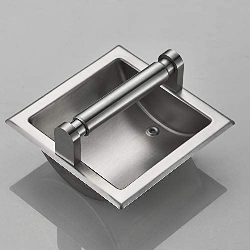 JunSun Brushed Nickel Recessed Toilet Paper Holder Wall Toilet Paper Holder Recessed Toilet Tissue Holder Stainless Steel Toilet Paper Holder - Rear Mounting Bracket Included