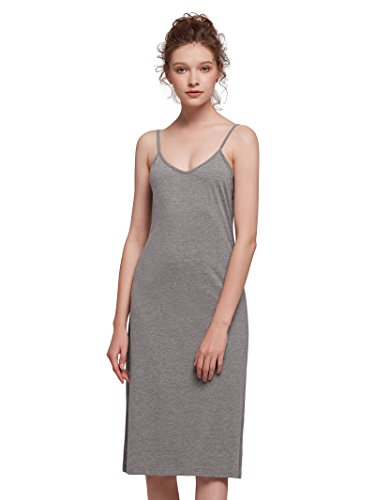 Mixed Casual Cotton Shapewear Cami Slip Soft Dress Sexy Top Dress Tank Lingerie Gray AW Sleepwear Women's 768Bqxnf