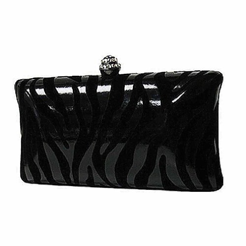 Black On Black Zebra Print Faux Patent Leather and Suede Clutch Evening Bag, Bags Central