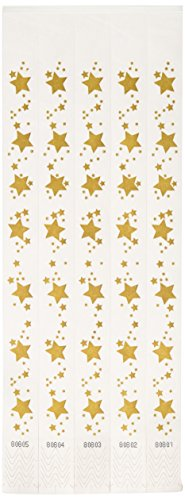 Beistle 60003 100-Pack Gold Star Tyvek Wristbands, 3/4 by 10-Inch