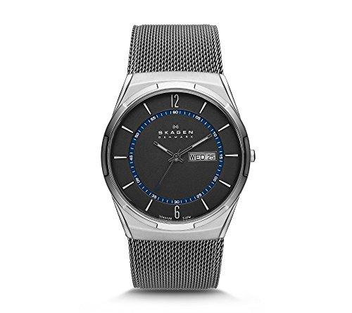 Skagen Men's Titanium Mesh Watch with Blue Accents
